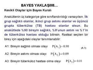 BAYES YAKLAIMI Kesikli Olaylar iin Bayes Kural Anaktlenin