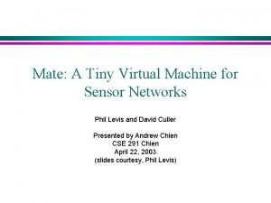Mate A Tiny Virtual Machine for Sensor Networks