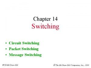 Chapter 14 Switching Circuit Switching Packet Switching Message