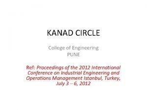 KANAD CIRCLE College of Engineering PUNE Ref Proceedings