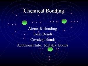 Chemical Bonding Atoms Bonding Ionic Bonds Covalent Bonds