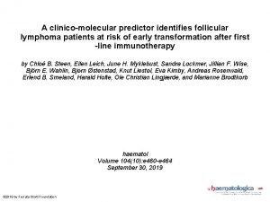 A clinicomolecular predictor identifies follicular lymphoma patients at
