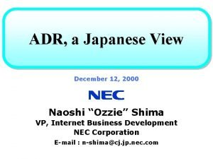 ADR a Japanese View December 12 2000 Naoshi