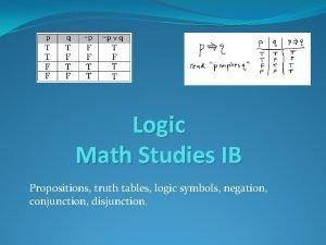 Logic Math Studies IB Propositions truth tables logic