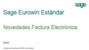 Sage Eurowin Estndar Novedades Factura Electrnica 151214 Novedades