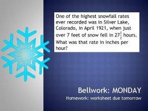 Bellwork MONDAY Homework worksheet due tomorrow 1 2