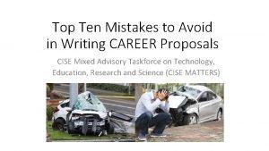 Top Ten Mistakes to Avoid in Writing CAREER