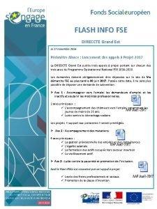 FLASH INFO FSE DIRECCTE Grand Est Le 17