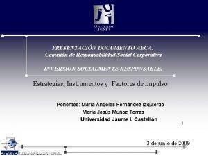 PRESENTACIN DOCUMENTO AECA Comisin de Responsabilidad Social Corporativa