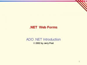 NET Web Forms ADO NET Introduction 2002 by