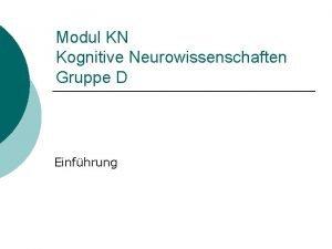 Modul KN Kognitive Neurowissenschaften Gruppe D Einfhrung Einfhrung