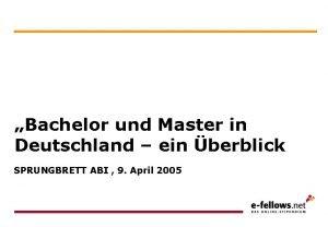 Bachelor und Master in Deutschland ein berblick SPRUNGBRETT