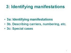 3 Identifying manifestations 3 a Identifying manifestations 3