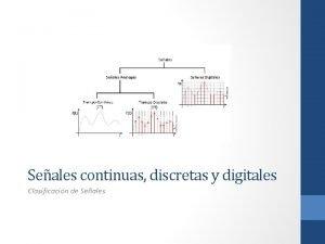 Seales continuas discretas y digitales Clasificacin de Seales