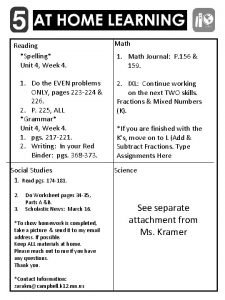 Reading Spelling Unit 4 Week 4 Math 1
