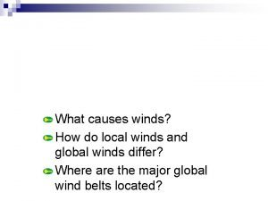 Section 6 Winds What causes winds How do