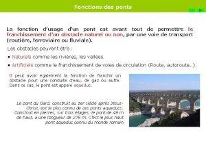 Fonctions des ponts FIN La fonction dusage dun