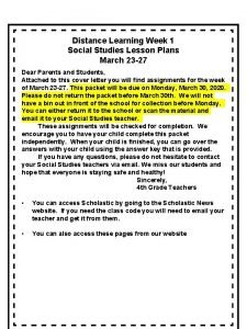 Distance Learning Week 1 Social Studies Lesson Plans