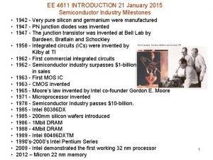 EE 4611 INTRODUCTION 21 January 2015 Semiconductor Industry