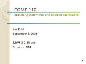 COMP 110 Branching Statements and Boolean Expressions Luv