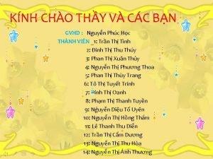 KNH CHO THY V CC BN GVHD Nguyn