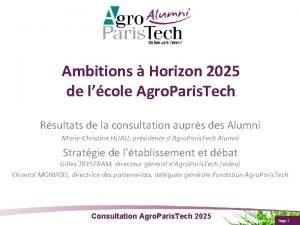 Ambitions Horizon 2025 de lcole Agro Paris Tech