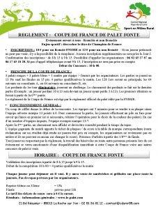 REGLEMENT COUPE DE FRANCE DE PALET FONTE Evnement