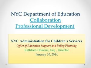 NYC Department of Education Collaboration Professional Development NYC