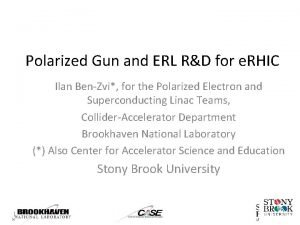 Polarized Gun and ERL RD for e RHIC