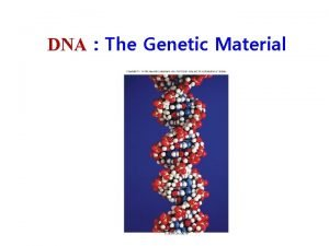 DNA The Genetic Material DNA DNA Structure DNA