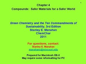 Chapter 4 Compounds Safer Materials for a Safer