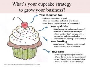 Whats your cupcake strategy to grow your business