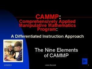 CAMMP Comprehensively Applied Manipulative Mathematics Program A Differentiated