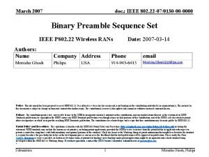 March 2007 doc IEEE 802 22 070130 00
