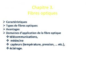 Chapitre 3 Fibres optiques Caractristiques Types de fibres