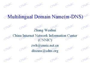 Multilingual Domain NamemDNS Zhang Wenhui China Internet Network