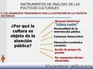 INSTRUMENTOS DE ANLISIS DE LAS POLTICAS CULTURALES II