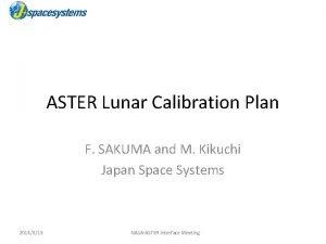 ASTER Lunar Calibration Plan F SAKUMA and M