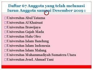 Daftar 67 Anggota yang telah melunasi Iuran Anggota