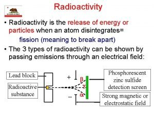 Radioactivity Radioactivity is the release of energy or