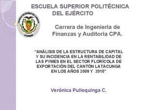 ESCUELA SUPERIOR POLITCNICA DEL EJRCITO Carrera de Ingeniera