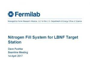 Nitrogen Fill System for LBNF Target Station Dave