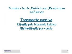 Transporte de Matria em Membranas Celulares Transporte passivo