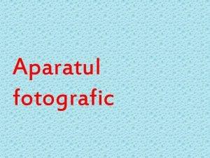 Aparatul fotografic Principiul de functionare q a fost