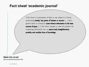 Fact sheet academic journal Titel A fact sheet