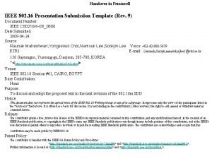 Handover in Femtocell IEEE 802 16 Presentation Submission