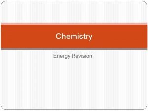 Chemistry Energy Revision Contents Enthalpy First Law Enthalpy