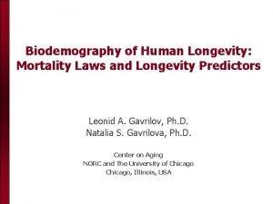Biodemography of Human Longevity Mortality Laws and Longevity