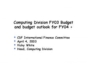 Computing Division FY 03 Budget and budget outlook