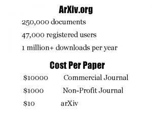 Ar Xiv org 250 000 documents 47 000